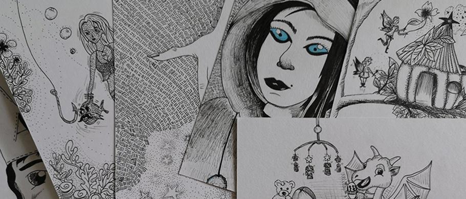 Inktober, dessin de Web Créatrice