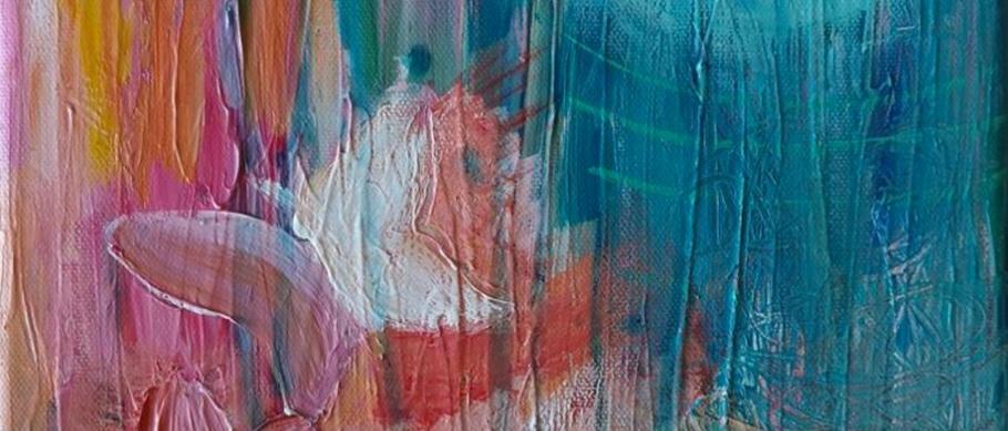 Toile de Web Créatrice : couleurs douces et formes abstraites, un papillon