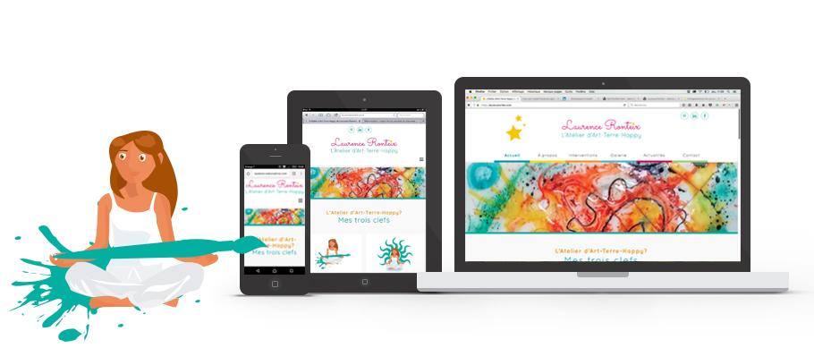 Laurence Ronteix, webdesign de la page d'accueil sur mobile, tablette et desktop