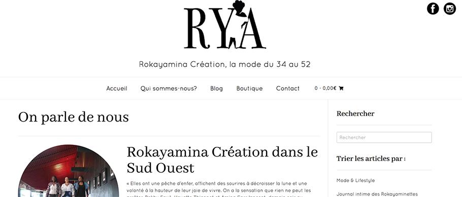Page blog du site rya création