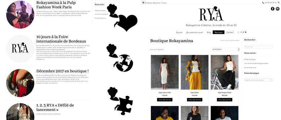 Création du site Rya Création, ici on voit la page actualité et boutique en ligne