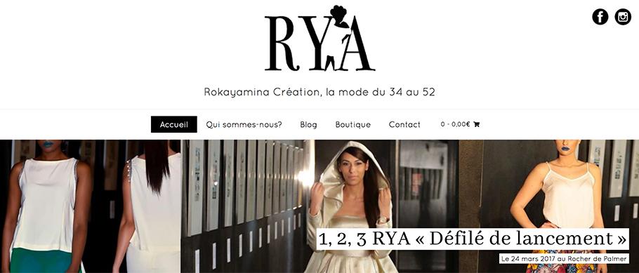 Page d'accueil du site web de Rokayamina Création