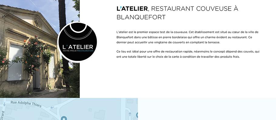 Page restaurant du site web de Resto'Starter
