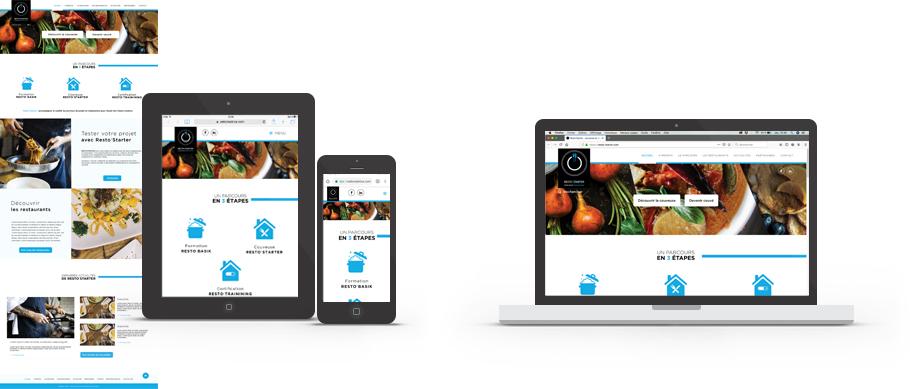 Page d'accueil du site web de Resto'Starter