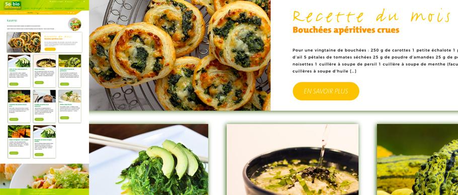 So.bio page du site web recettes