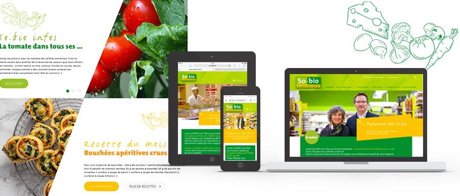 Page d'acceuil du site web responsive So.bio
