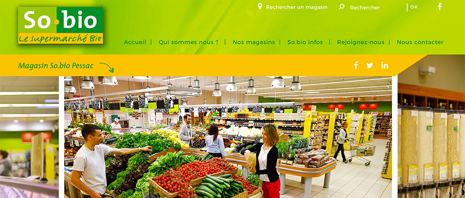 Page web magasin pessac So.bio