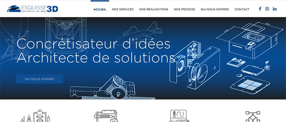 Accueil du site web Esquisse 3D