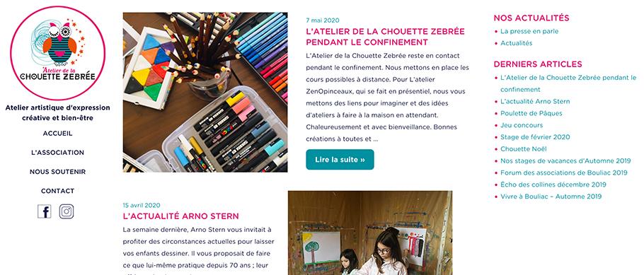 Site web de la Chouette Zebree page actus