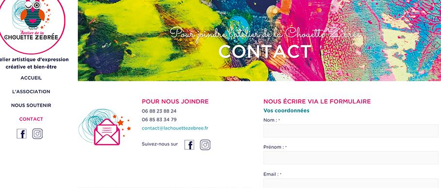 Site web de la Chouette Zebree page contact