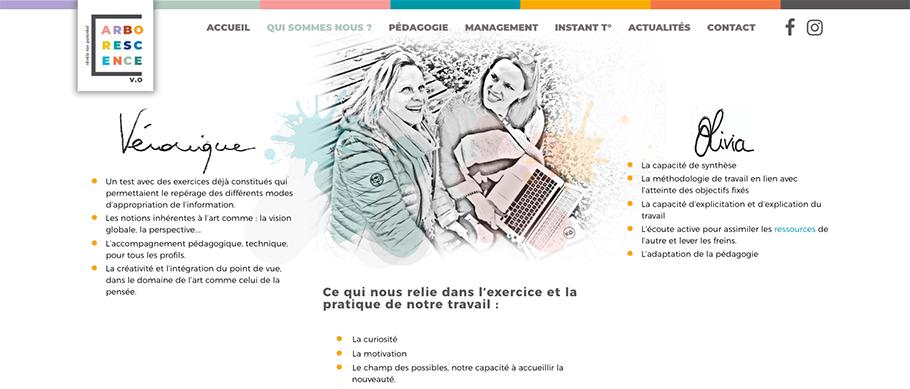 Page qui sommes-nous et approche du site web d'Arborescence (Arborescence.vo)