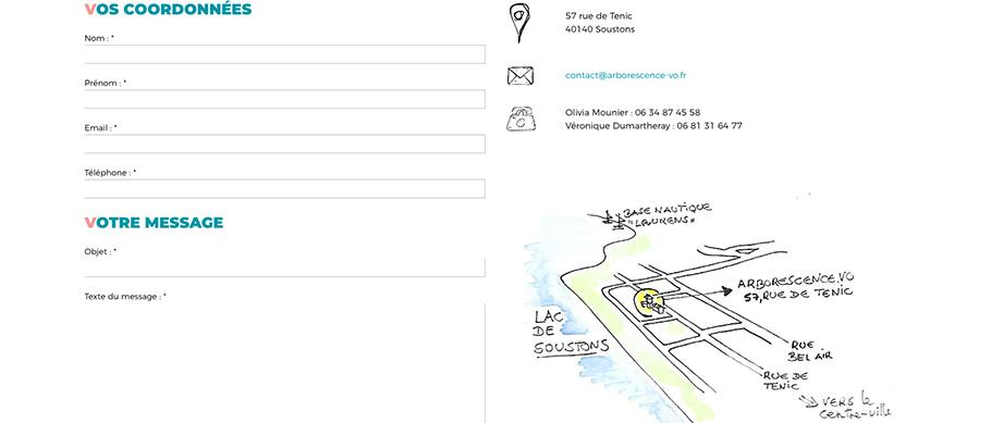 Page contact du site web d'Arborescence (Arborescence.vo)