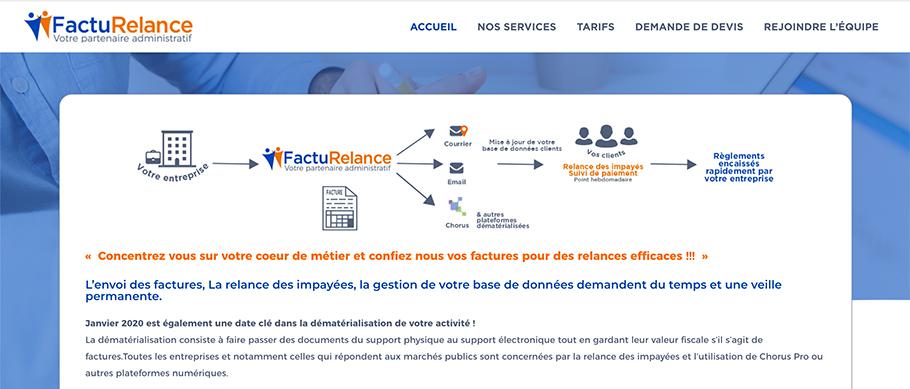 Page d'accueil du site web de FactuRelance