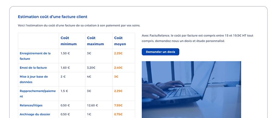 Page tarif du site web de FactuRelance