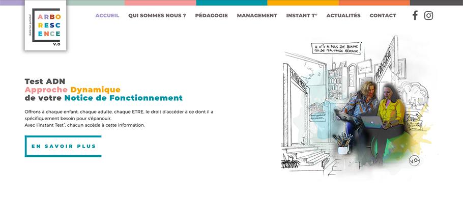 Page d'accueil du site web d'Arborescence (Arborescence.vo)