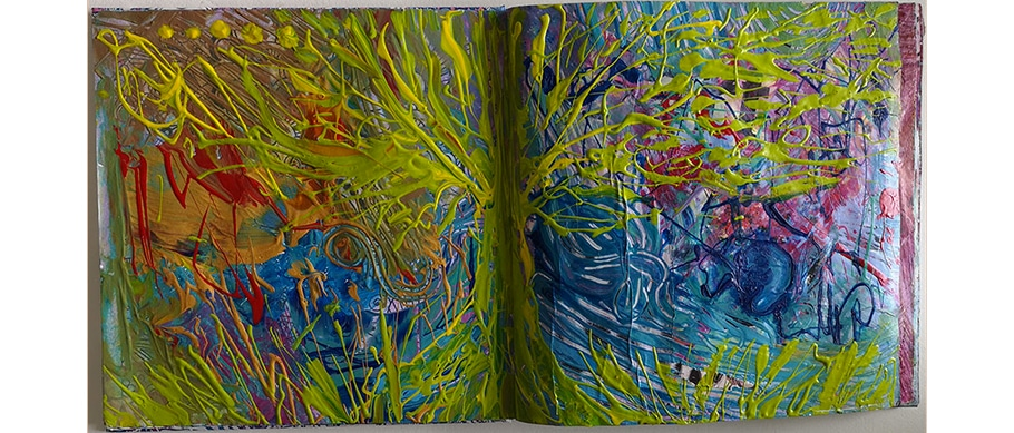 Arts plastiques : art-journal de Web Créatrice. Arbre coloré et abstraction