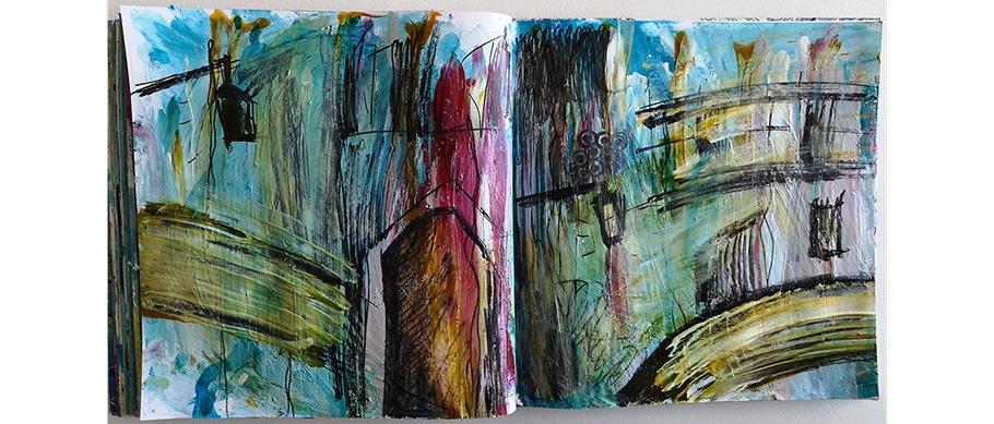 Arts plastiques : art-journal de Web Créatrice. Peinture intuitive en souvenir de Venise