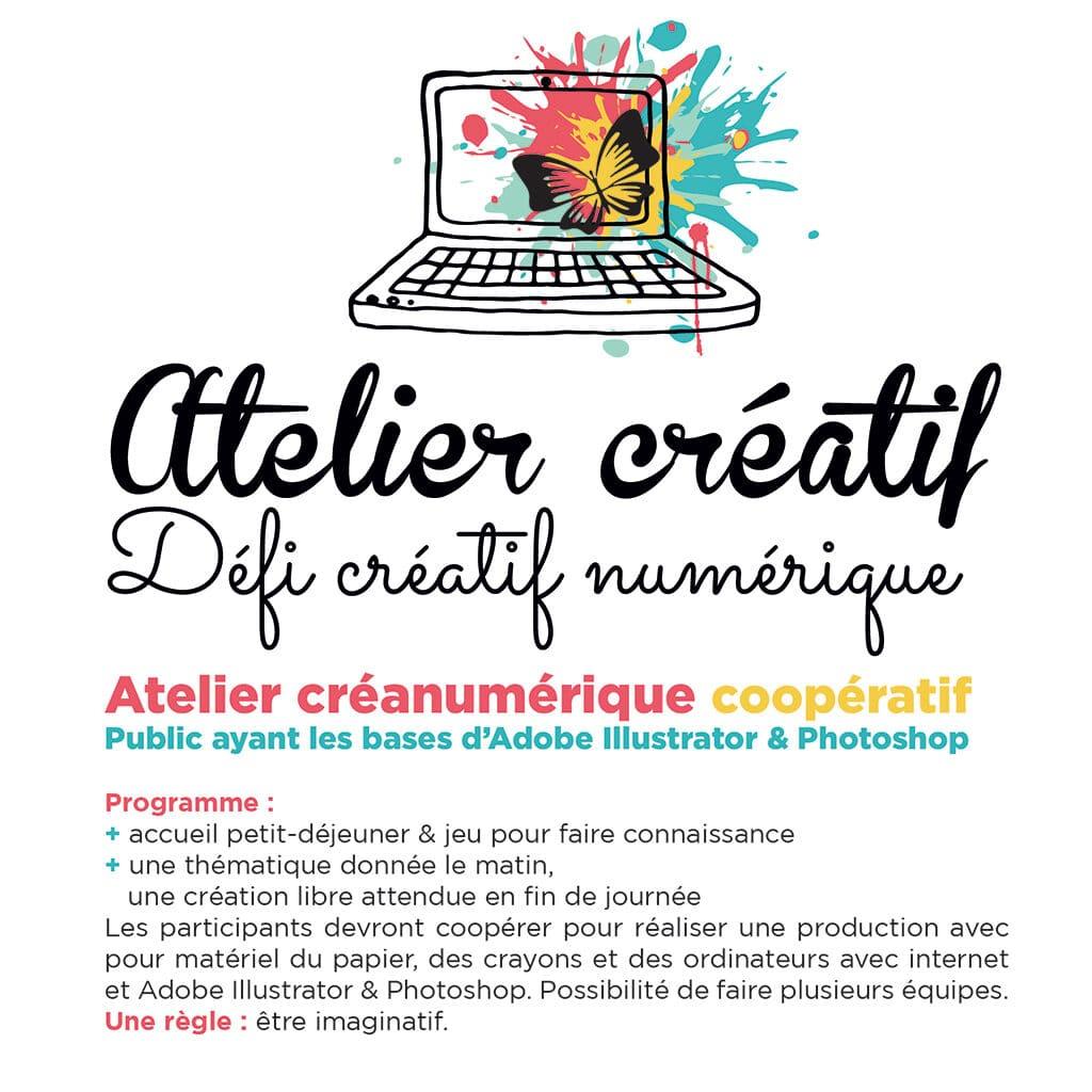 Atelier créanumérique coopératif Public ayant les bases d'Adobe Illustrator & Photoshop